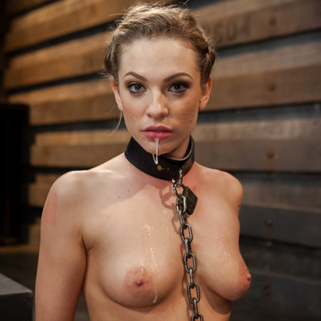 Dahlia Sky, nude, as a slave at the training of O.