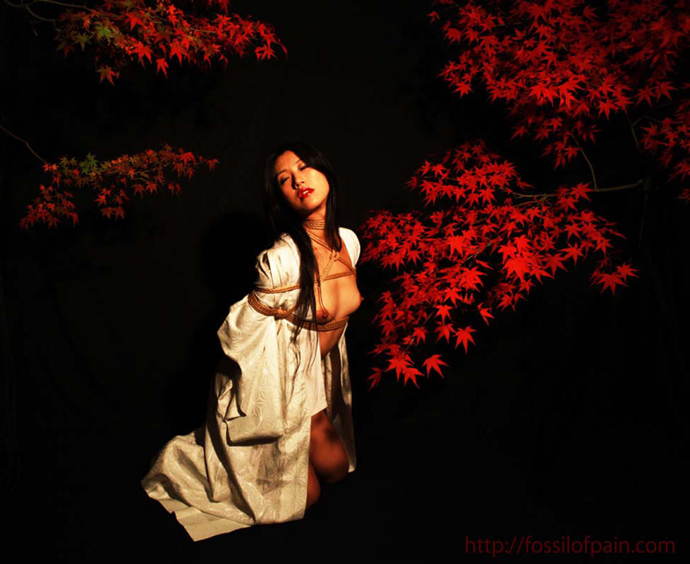 Koh Ishifune, nude girl bound in Kinbaku or shibari, Japanese bondage style.