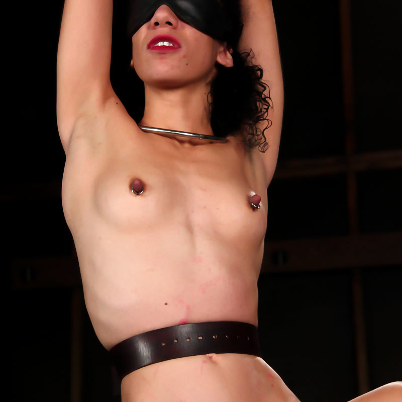 Caddy Compston, nude and blindfolded in strict restraint bondage.