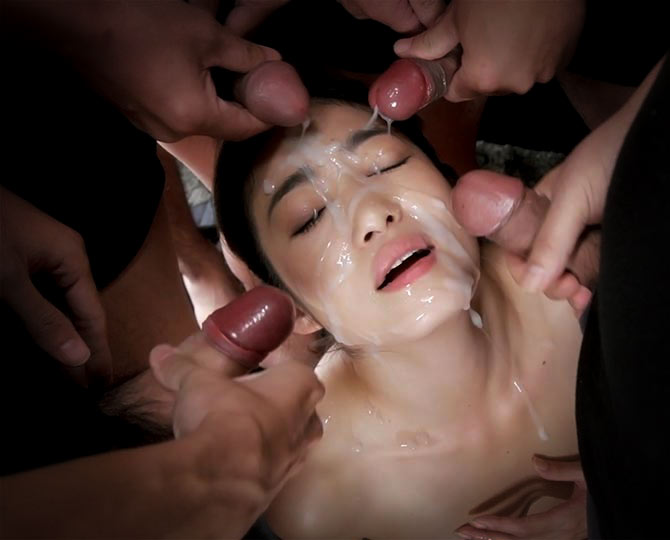 Bukkake | Ryu Enami nude in an uncensored japanese video.