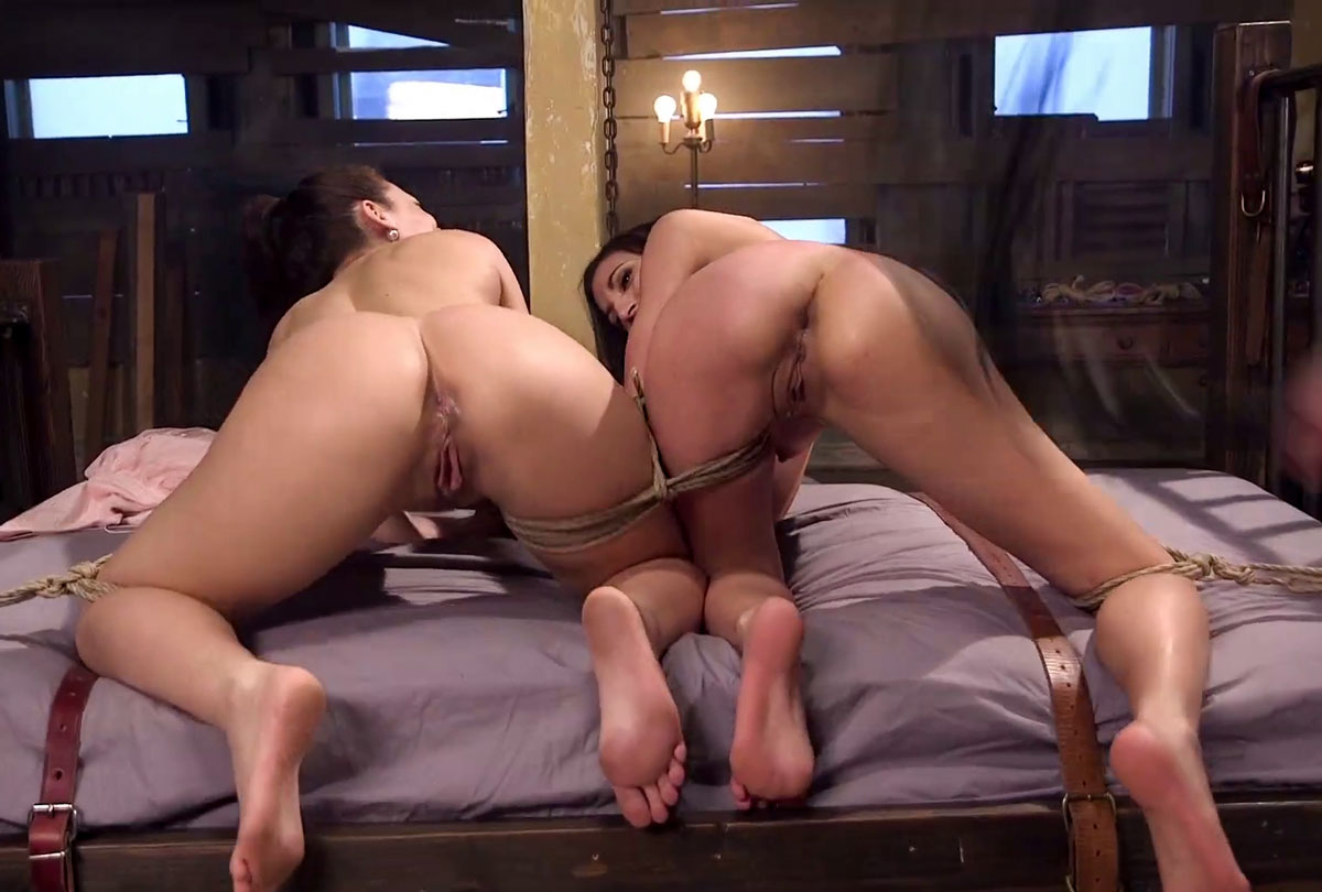Fake news, real sex. Moka Mora and Kimber Woods nude and bound in the bdsm video anal assets at sex and submission, kink unlimited.
