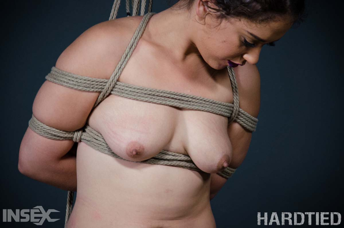 Choked up. Ziggy Star, nude in hard tied rope bondage. A BDSM video from Hardtied.