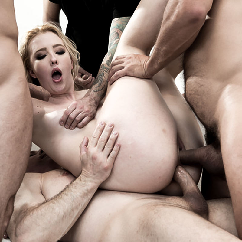 Samantha Rone Double Anal Gangbang. A nude girl having sex with 4 men in a bdsm video at kink, digital sin.