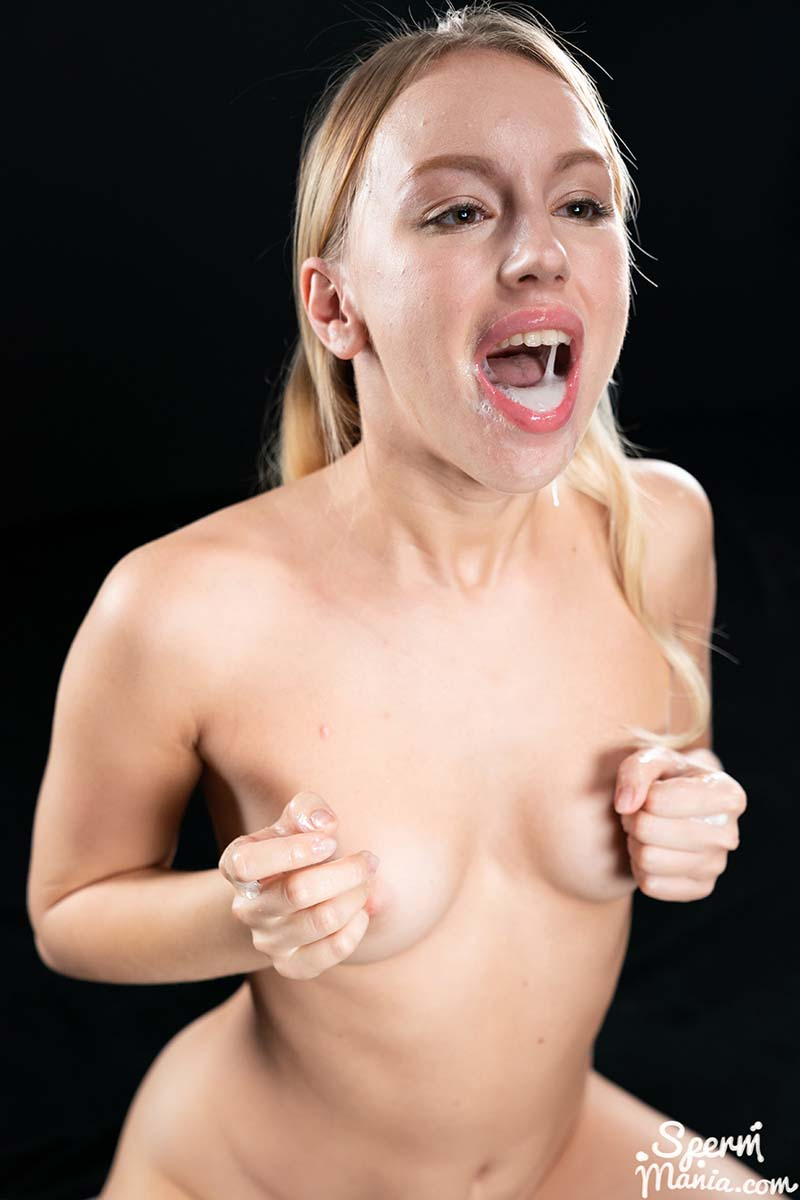 Kira Thorn's Cum Covered Group Blowjob. Kira Thorn, full nude, sucks eight cocks with cum in her mouth in an uncensored video from Facial Fetish studio Sperm Mania.
