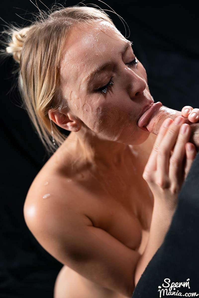 Kira Thorn's Sticky Bukkake Facial. A nude girl covered in cum in an uncensored SpermMania video.