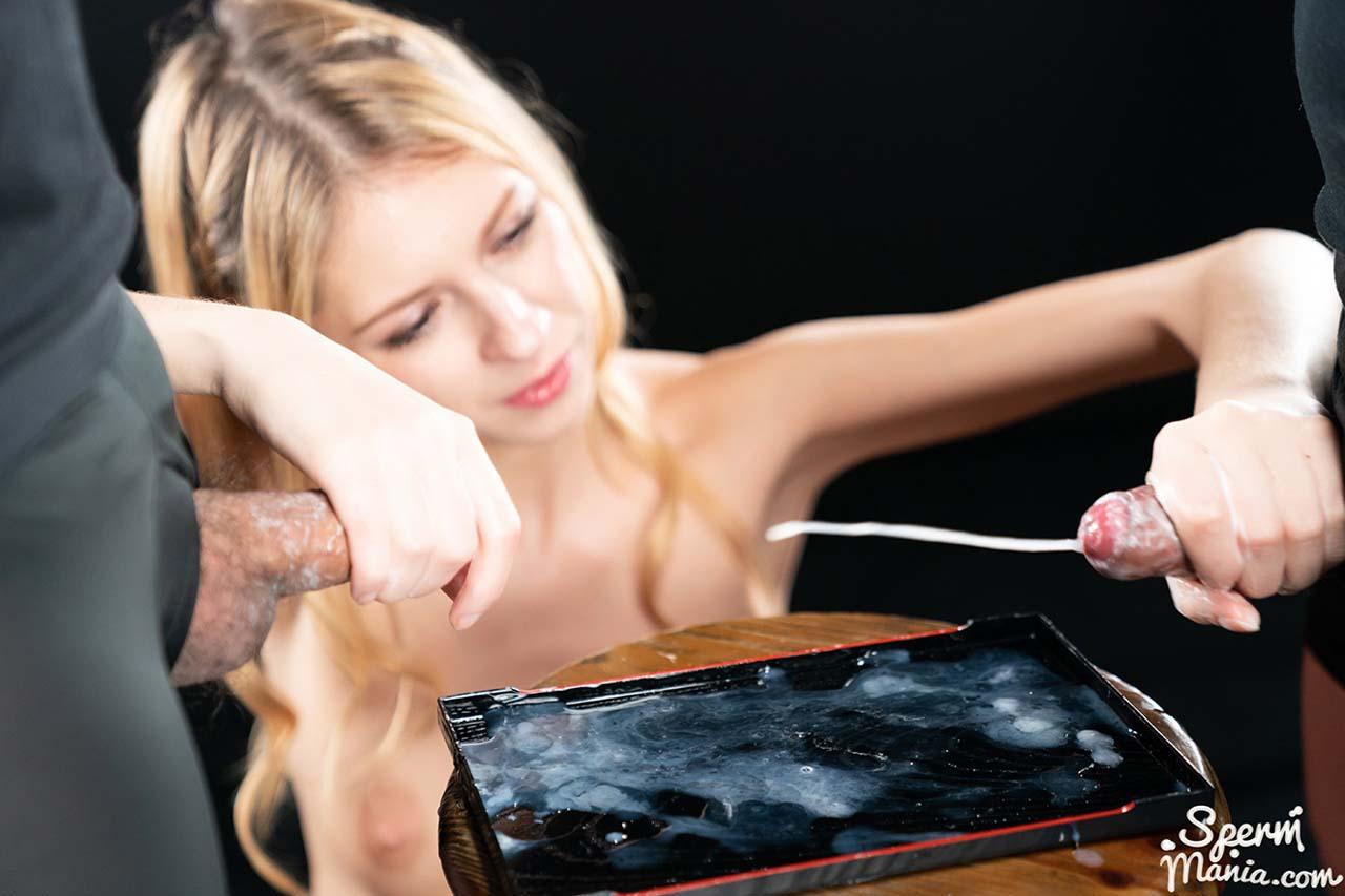 Rebecca Volpetti uses a Massive Cum Handjob for the perfect Hand- and Feetjob in an uncensored SpermMania video.