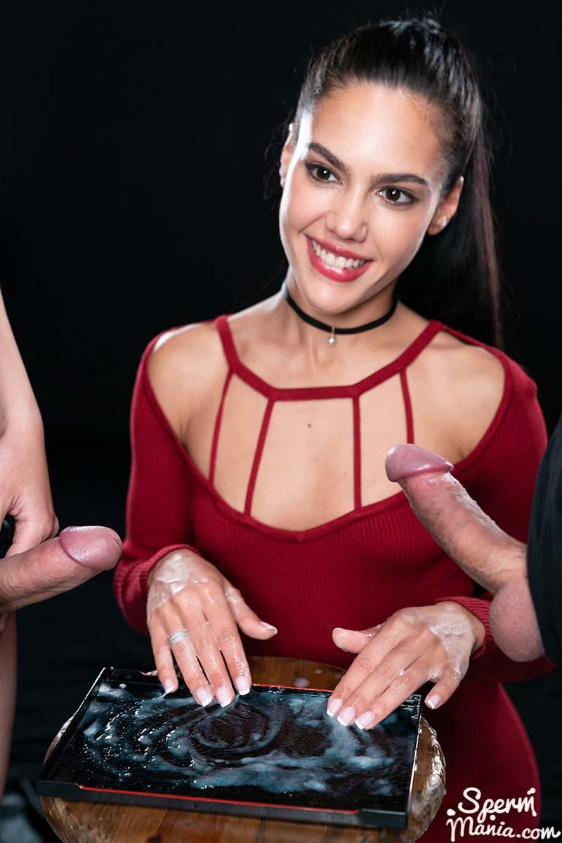 Apolonia Lapiedra Uses Cum to Stroke A Bunch of Dicks. A Group Cum Handjob for a Cum FootJob. Uncensored Spermmania video.
