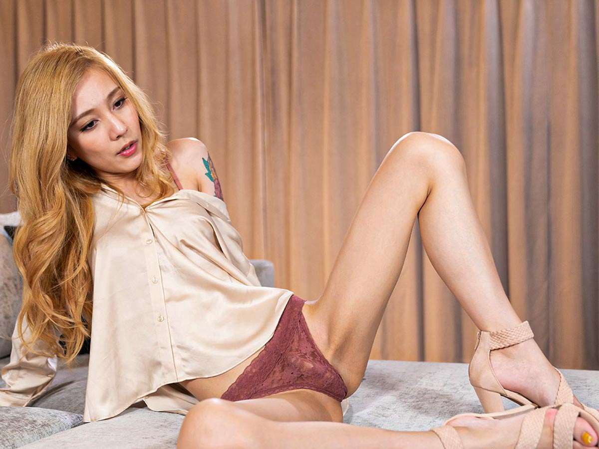 Chulin Nakazawa Solo Feet and Leg Fetish. The Shemale NewHalf Girl exposes long legs and her big cock. Uncensored Foot Fetish from TransexJapan.