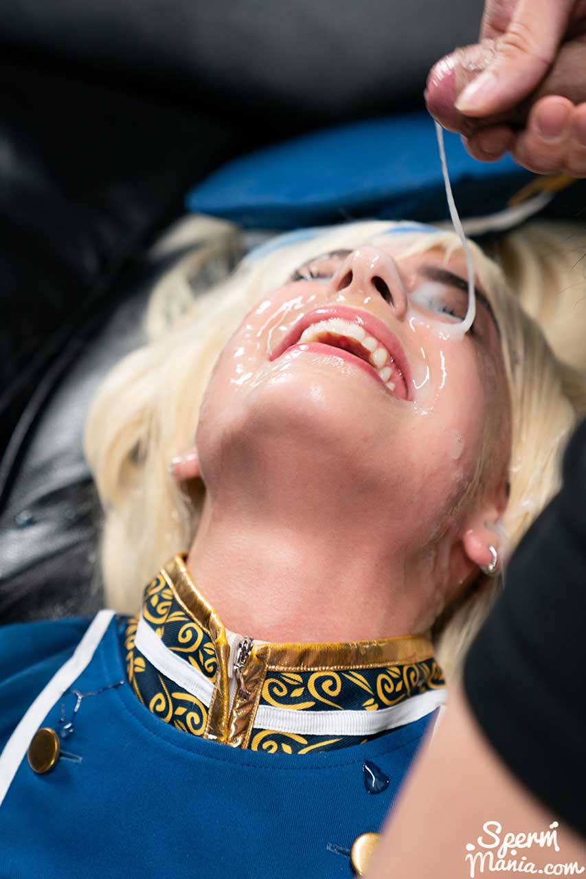 Kristen Scott Cosplay Bukkake. Facial Bukkake on a nude girl masturbating in cosplay. An uncensored video from SpermMania.
