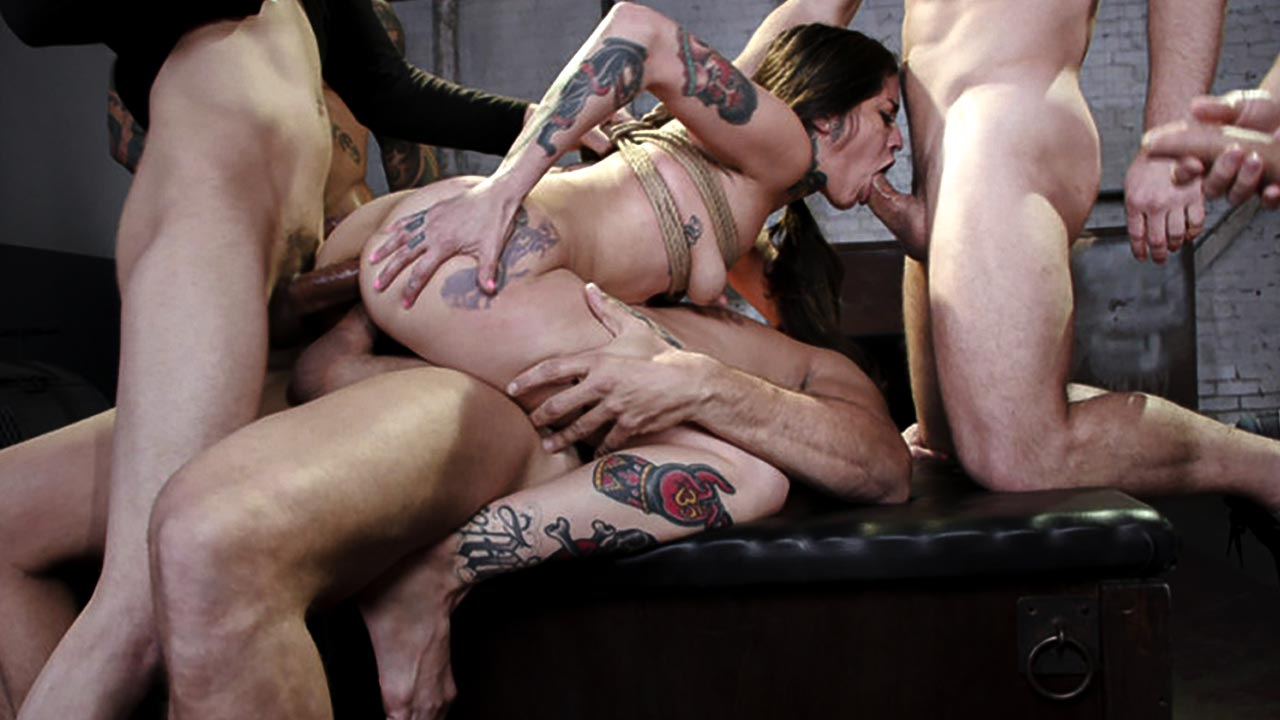 Bound Gangbang, Vanessa Vega enjoys double penetration, anal sex and squirting.