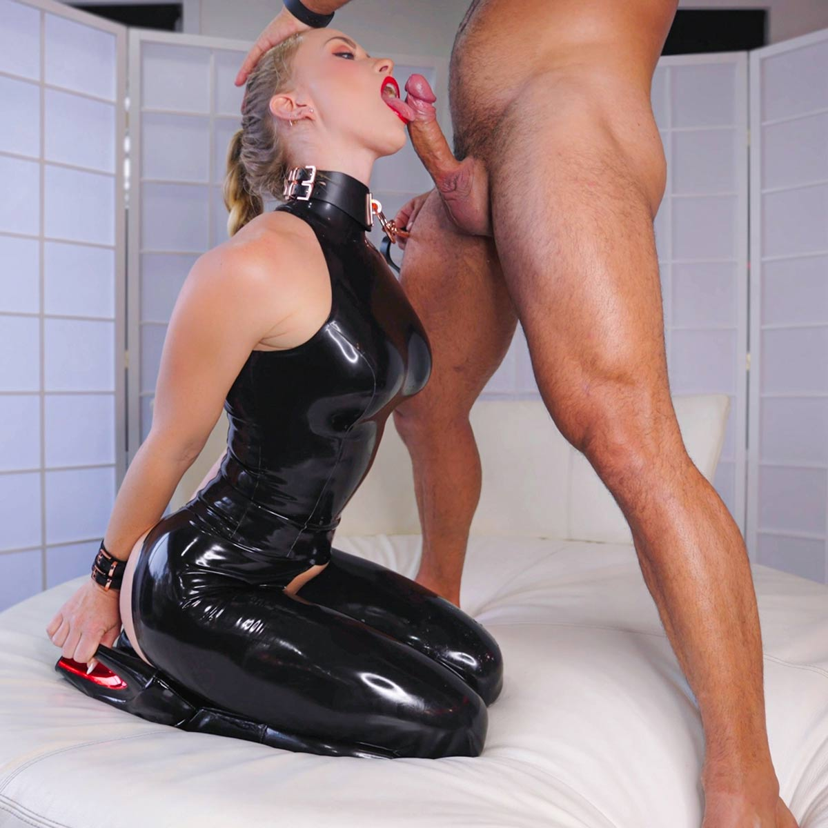 Scarlet Chase as a Latex Anal Sex Slave in a BDSM Fetish video at Evil Angel.